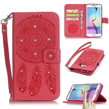 galaxy s6 edge case, firefish [kickstand] flip folio wallet casegalaxy s6 edge case, firefish [kickstand] flip folio wallet case campanula embossed shining