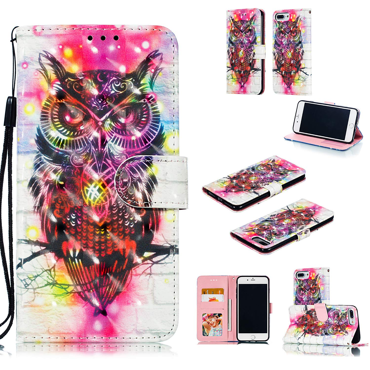 NOMO iPhone 8 Plus Case,iPhone 7 Plus Wallet Case,iPhone 6S Plus Case,iPhone 6 Plus,Folio Flip PU Leather Pattern Case Card Slots Kickstand Case for iPhone 7 Plus/8 Plus/6 Plus/6S Plus,Colorful Owl
