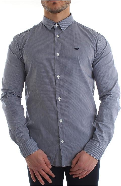 Armani Hombres Camisa de popelín de algodón del Estiramiento XL Control Azul: Amazon.es: Ropa y accesorios
