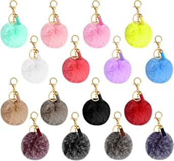 16 Pieces Pom Poms Keychain Fluffy Faux Fur Pompoms Keyring with Tassel Pendants Mixed Color Pom Pom Ball Keychains for Women Girls Bag Cellphone Decor DIY Crafts