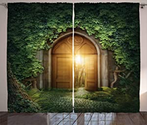 Ambesonne Fantasy Curtains, Sunbeams Through The Mysterious Half Opened Wooden Entrance with Greenery, Living Room Bedroom Window Drapes 2 Panel Set, 108