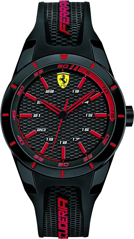 Ferrari 0840004 RedRev - Reloj analógico de pulsera para hombre (cuarzo, correa de silicona)
