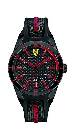 Ferrari 0840004 RedRev - Reloj analógico de pulsera para hombre (cuarzo, correa de silicona