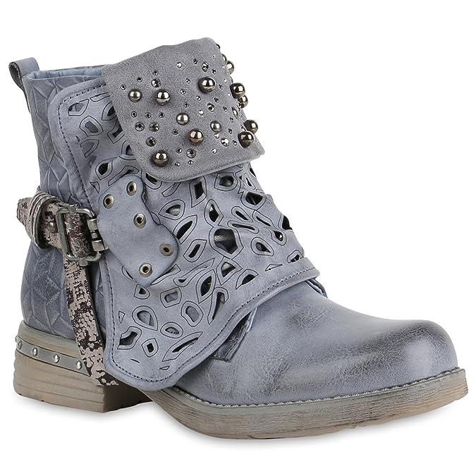 Stiefelparadies Damen Schuhe Stiefeletten Schnürstiefeletten Zierperlen Nieten Boots 155084 Schwarz Brito 39 Flandell prUPuW
