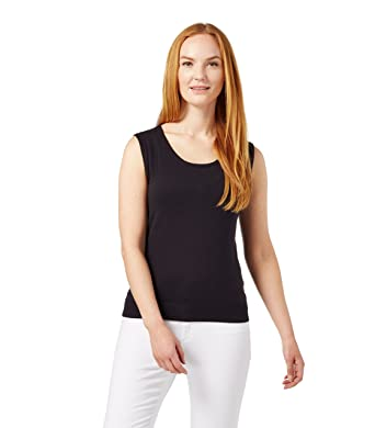 WoolOvers Womens Silk and Cotton Scoop Neck Sleeveless Sweater at ...