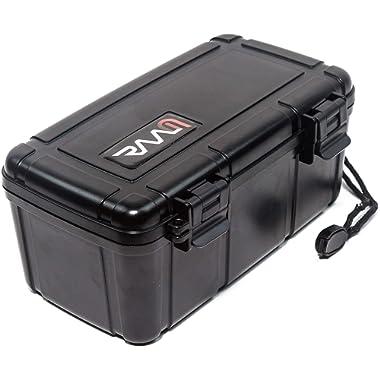 RAAM Cigar Travel Humidor - Double Clamp | Crush-Proof | Air Tight | Portable Humidifier for Cigars | Black | Maximum 15 Cigars