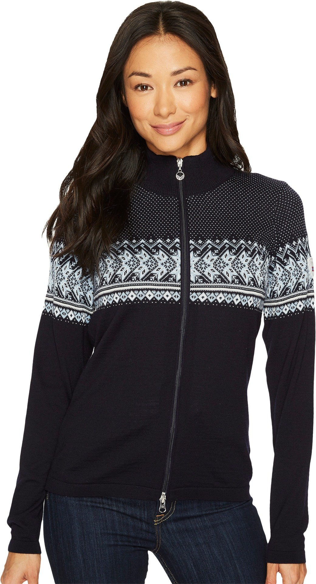 Dale of Norway Women's Hovden Jacket C-Navy/Off-White/Ice Blue/Grey Small
