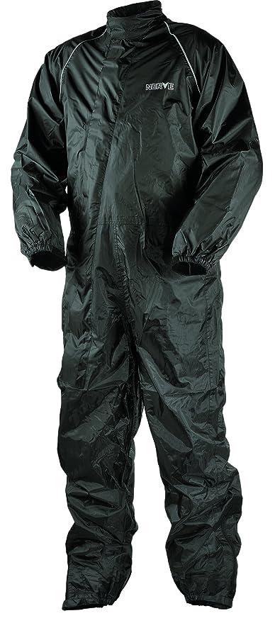 Nerve Hard Rain Traje Impermeable de Moto de Lluvia, Negro, XXL