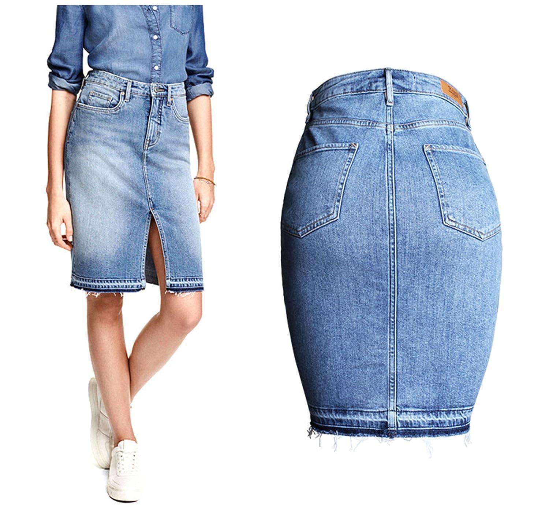 aae3705547 Greuses Denim Skirt European Style High Waist Split Sexy Trendy Pencil  Jeans Skirts at Amazon Women s Clothing store