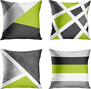 Emvency Set of 4 Throw Pillow Covers Modern Abstract Stripe Simple Geometric Acrylic Bold Decorative Pillow Cases Home Decor Square 18x18 Inches Pillowcases(Grey Green)