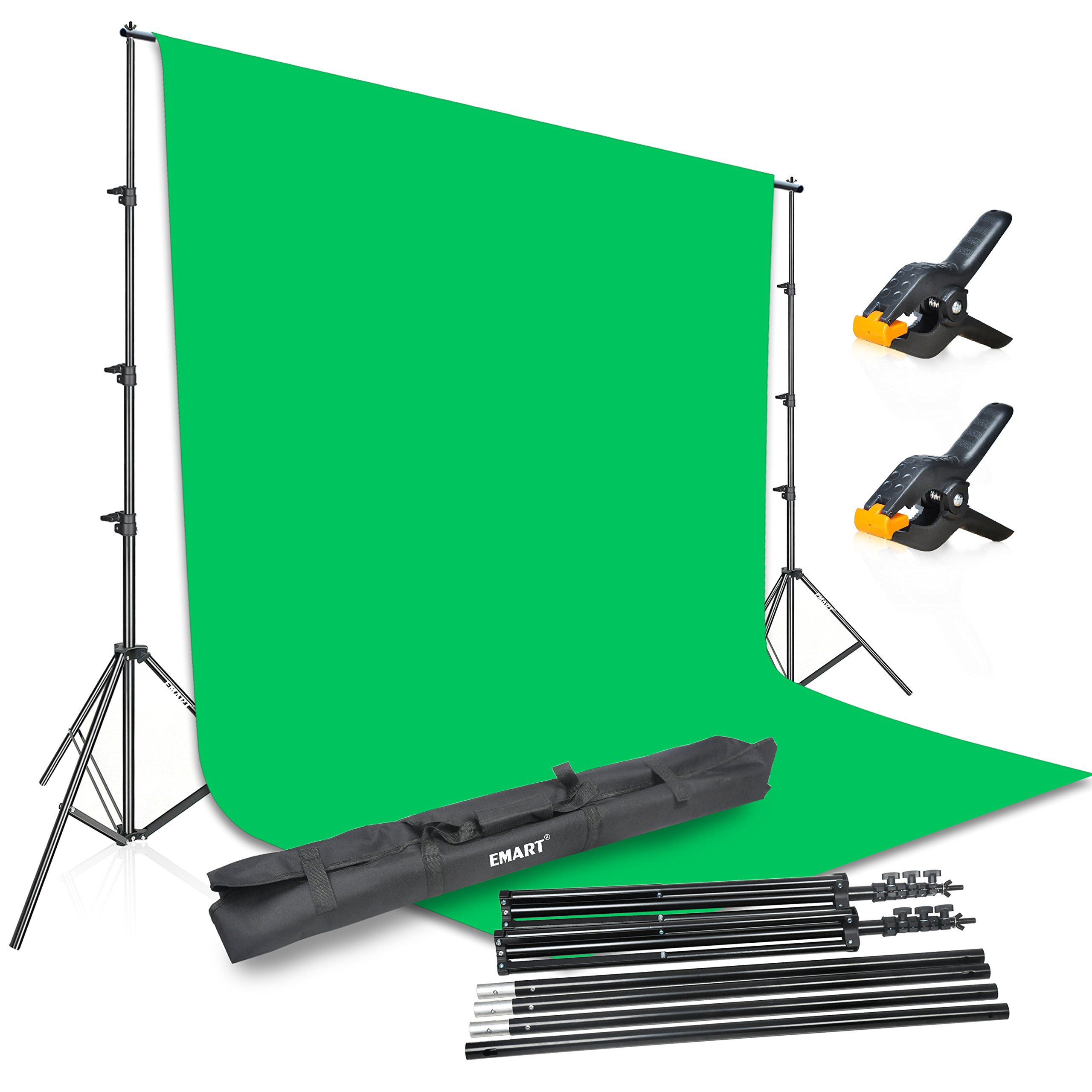 Emart Photography 8.5x10ft Background Stand Backdrop Support System Kit with 10x12ft Muslin Chromakey Green Screen for Photo Video Studio by EMART