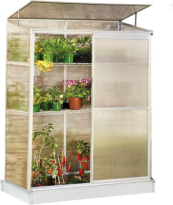 Garden Grow - Invernadero Compacto de 4 x 2 pies, 2 Niveles para Interiores y Exteriores para Frutas, Verduras y Plantas, Puerta corredera Individual, Techo con bisagras: Amazon.es: Jardín