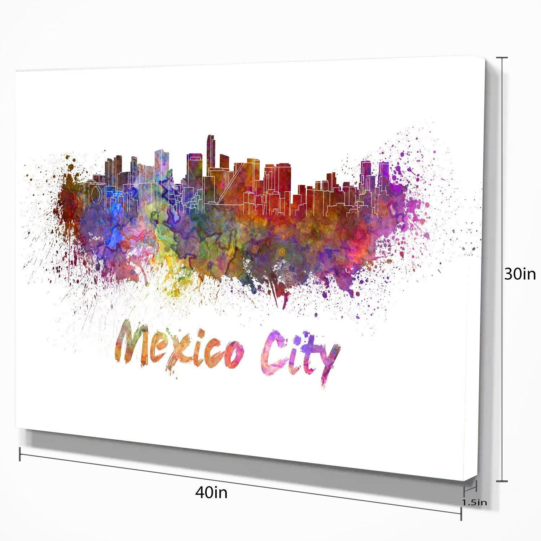 Designart Mexico City Skyline-Cityscape Canvas Print-60x28-5 Piece 60x28-5 Equal Panels Green