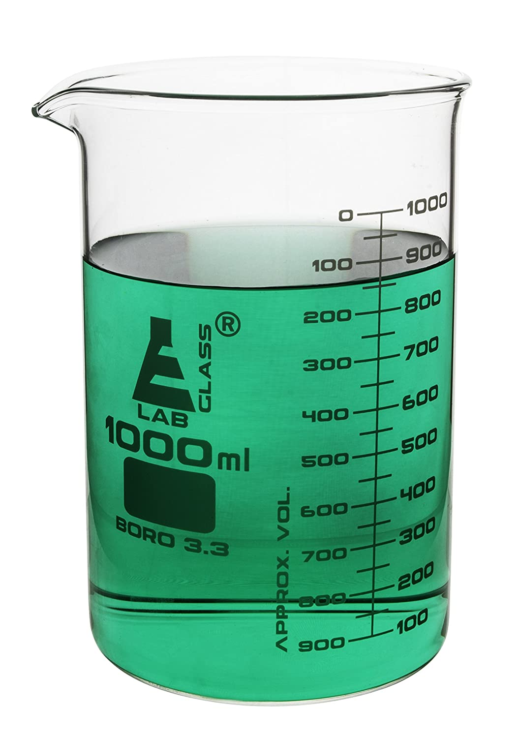 1000ml Low Form Beaker - ASTM - Borosilicate Glass - Eisco Labs