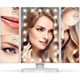 Vanity Mirror with Lights - 22 LEDs - Lighted Makeup Mirror with 10X/3X/2X Magnification and Touch Screen - 180 Degree Rotation - Cosmetic Make Up Trifold Table Light Up Mirrors for Travel