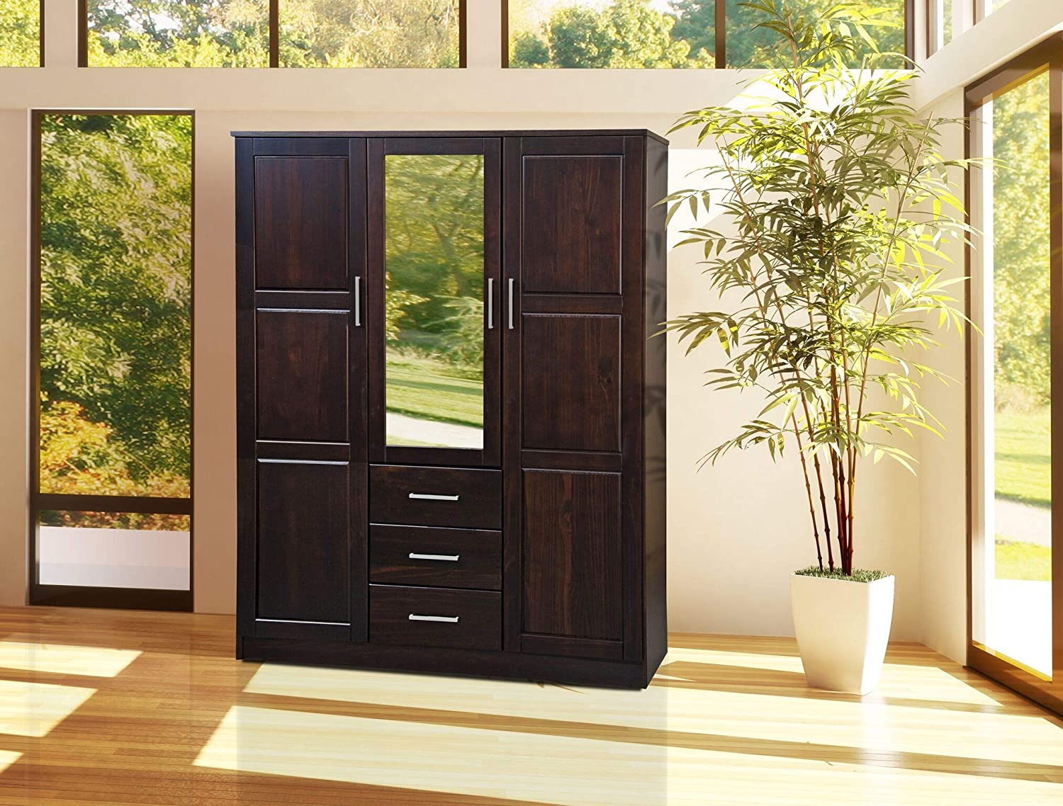 Palace Imports Cosmo Solid Pine 3-Door Wood Wardrobe/Armoire/Closet with Mirror and 3 Drawers 7116 Java 56' w x 21' d x 72' h. Optional Additional Shelves Sold Separately. Requires Assembly.
