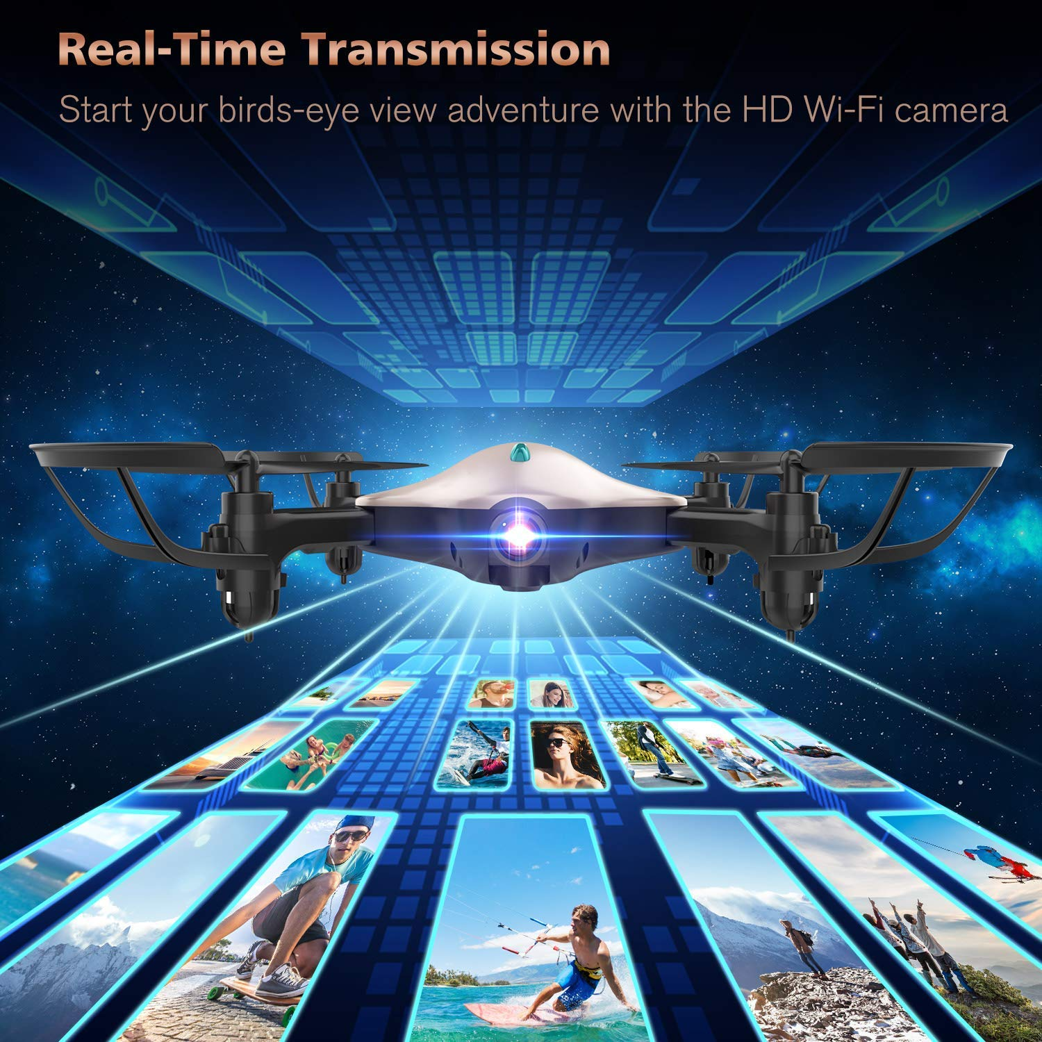 DBPOWER FPV RC Drone with 720P HD Wi-Fi Camera Live Video Feed 2.4GHz 6-Axis Gyro Quadcopter for Kids /& Beginners Foldable Arms Altitude Hold Golden One Key Take Off//Landing Headless Mode