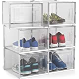 Uncrowned Kings Shoe Box Storage Containers - Large Clear Plastic Shoebox Display Case for Men & Women's Footwear - Stackable