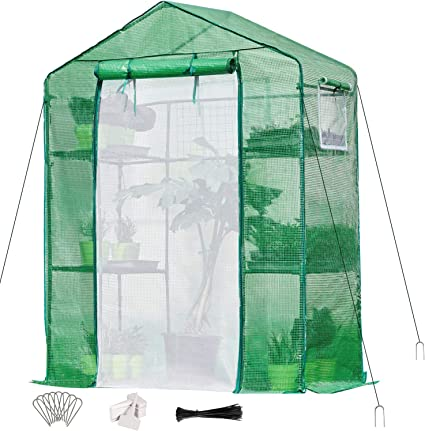 Quictent Greenhouse Mesh Door 3 Windows 3 Tiers 12 Shelves 56 W x 56 D x 77 H Walk in Outdoor Portable Plant Garden Green House 50 T-Type Plant Tags 10 Stakes 4 Ropes Include Green