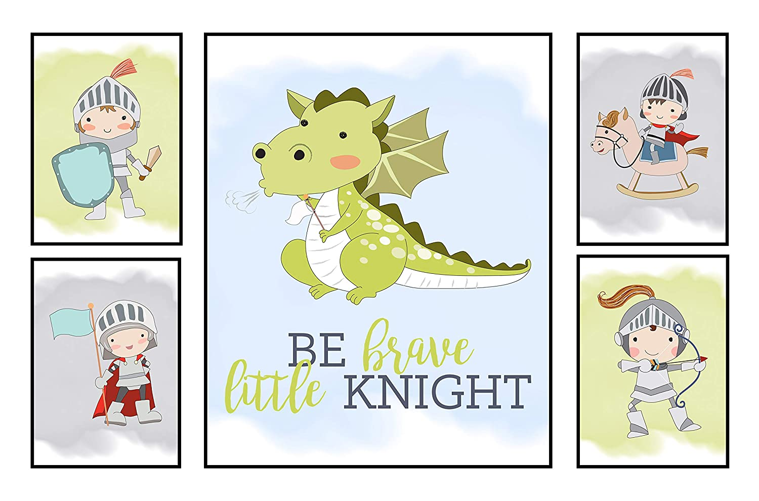 Silly Goose Gifts Knight Dragon Adventure Castle Art Print Design Wall Decor Set (Set of Five)