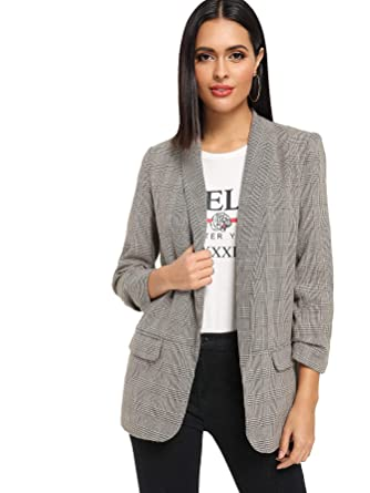 6cd97fbdf1 SheIn Women's Shawl Collar 3/4 Ruched Sleeve Open Front Blazer Jacket (X-
