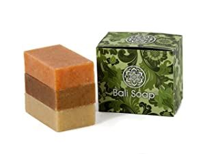 Bali Soap - Natural Soap Bar Gift Set, Face or Body Soap, Best for All Skin Types, For Women, Men & Teens, 3 pc Variety Soap Pack (Papaya - Cinnamon - Lemongrass) 3.5 Oz each