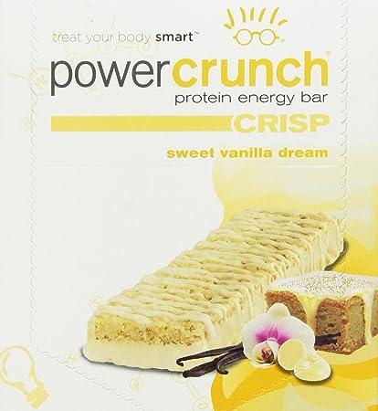 Protein Crunch Energy Power Bar crujiente, dulce de vainilla Sueño, 12 Bares - BNRG