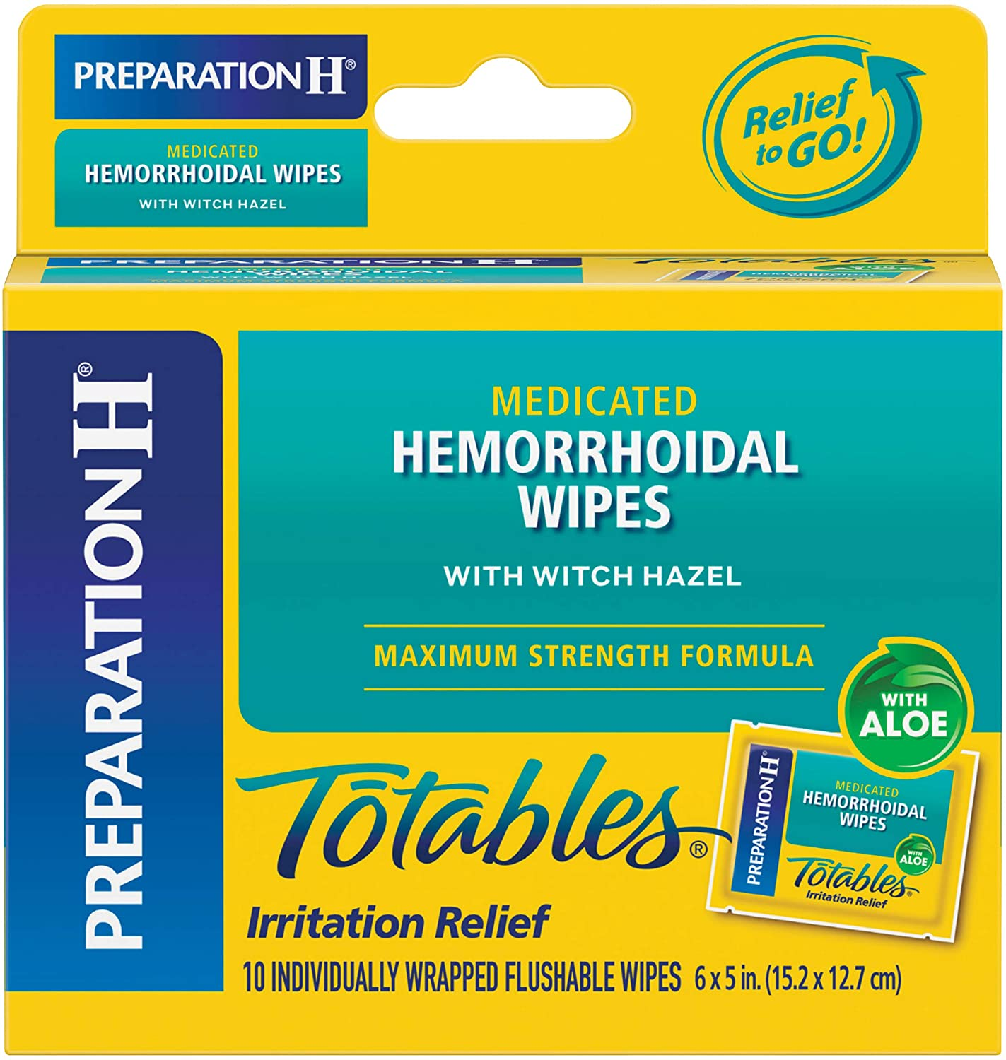 Preparation H (10 Count) Flushable Medicated Hemorrhoid Wipes, Maximum Strength Relief with Witch Hazel, Irritation Relief Wipes to Go: Health & Personal Care