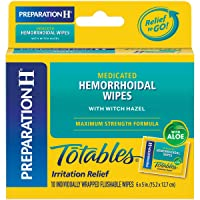 Preparation H (10 Count) Flushable Medicated Hemorrhoid Wipes, Maximum Strength...