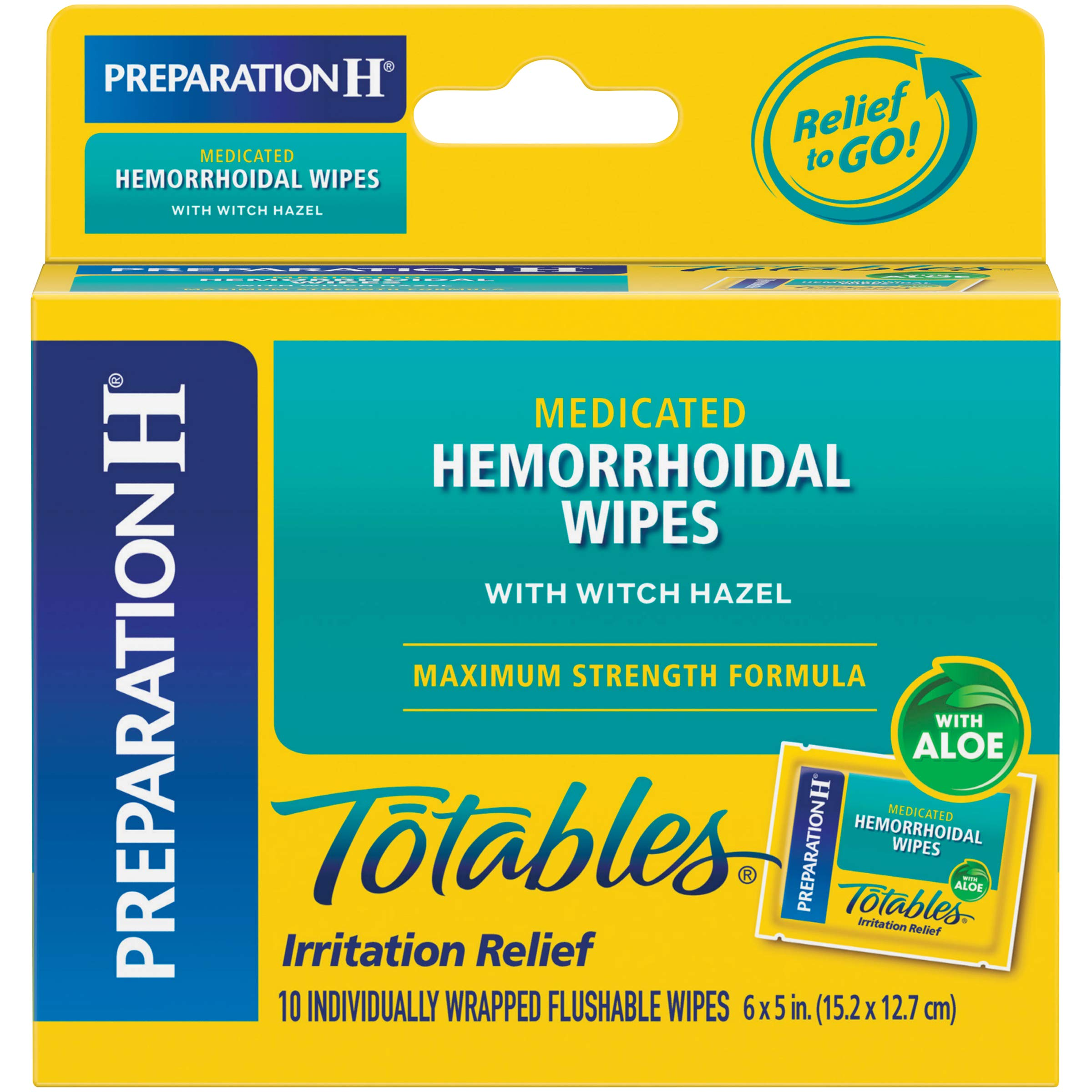 Preparation H (10 Count) Flushable Medicated Hemorrhoid Wipes, Maximum Strength Relief with Witch Hazel and Aloe, Irritation Relief Wipes to Go, (Pack of 2)