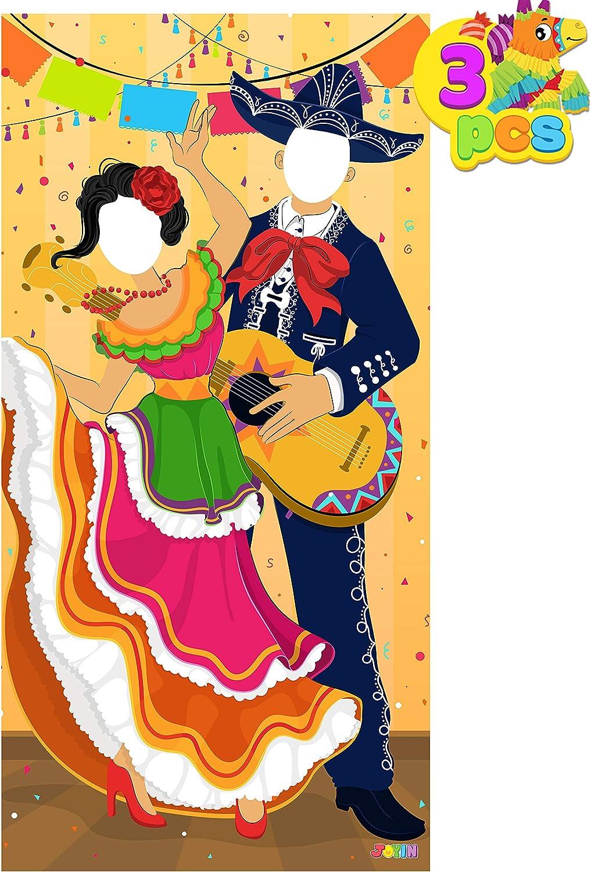Cinco de Mayo Fiesta Couple Photo Door Banner 3 Pieces for Party Supplies, Decoration, Mexican Theme Fiesta, Party or Festivals