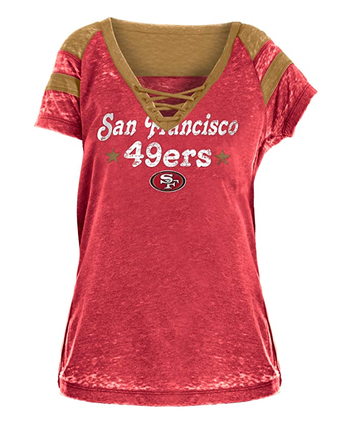 Amazon.com   New Era San Francisco 49ers Women s All-Star Distressed Burnout  T-Shirt   Sports   Outdoors 7c2820ab0