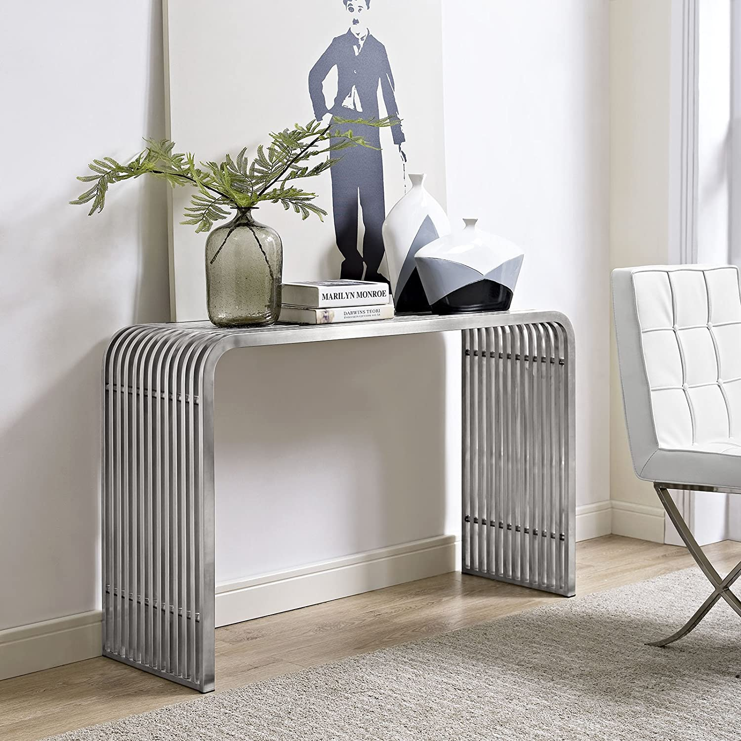 Modway Pipe Stainless Steel Console Table, Silver