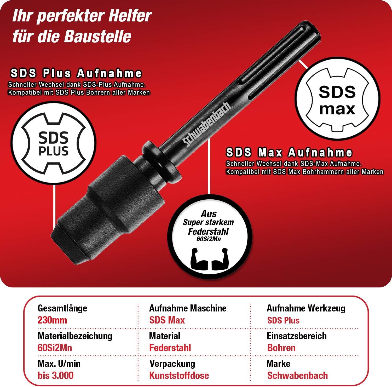 SDS Max vers SDS Plus Adaptateur Mandrin Foret Perforateur B/éton
