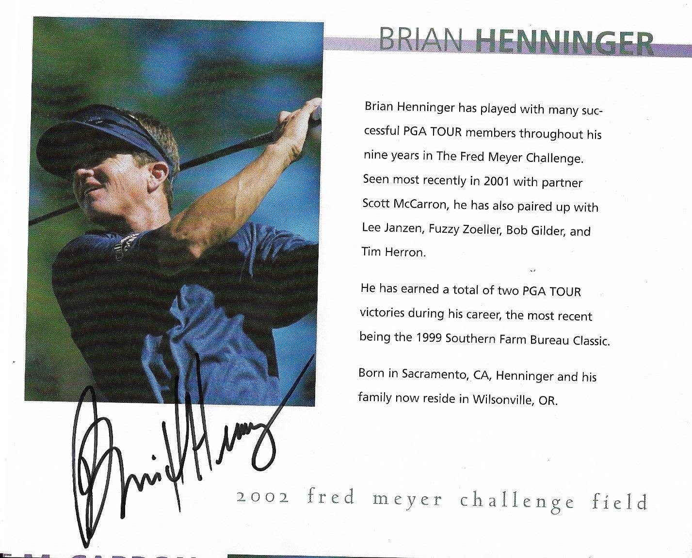 Autographed Brian Henninger Photo Star 6x7 Book Page W coa Autographed Golf Photos