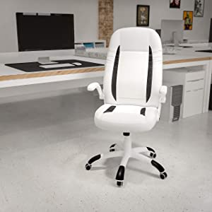 Flash Furniture High Back White LeatherSoft Executive Swivel Ergonomic Office Chair with Flip-Up Arms