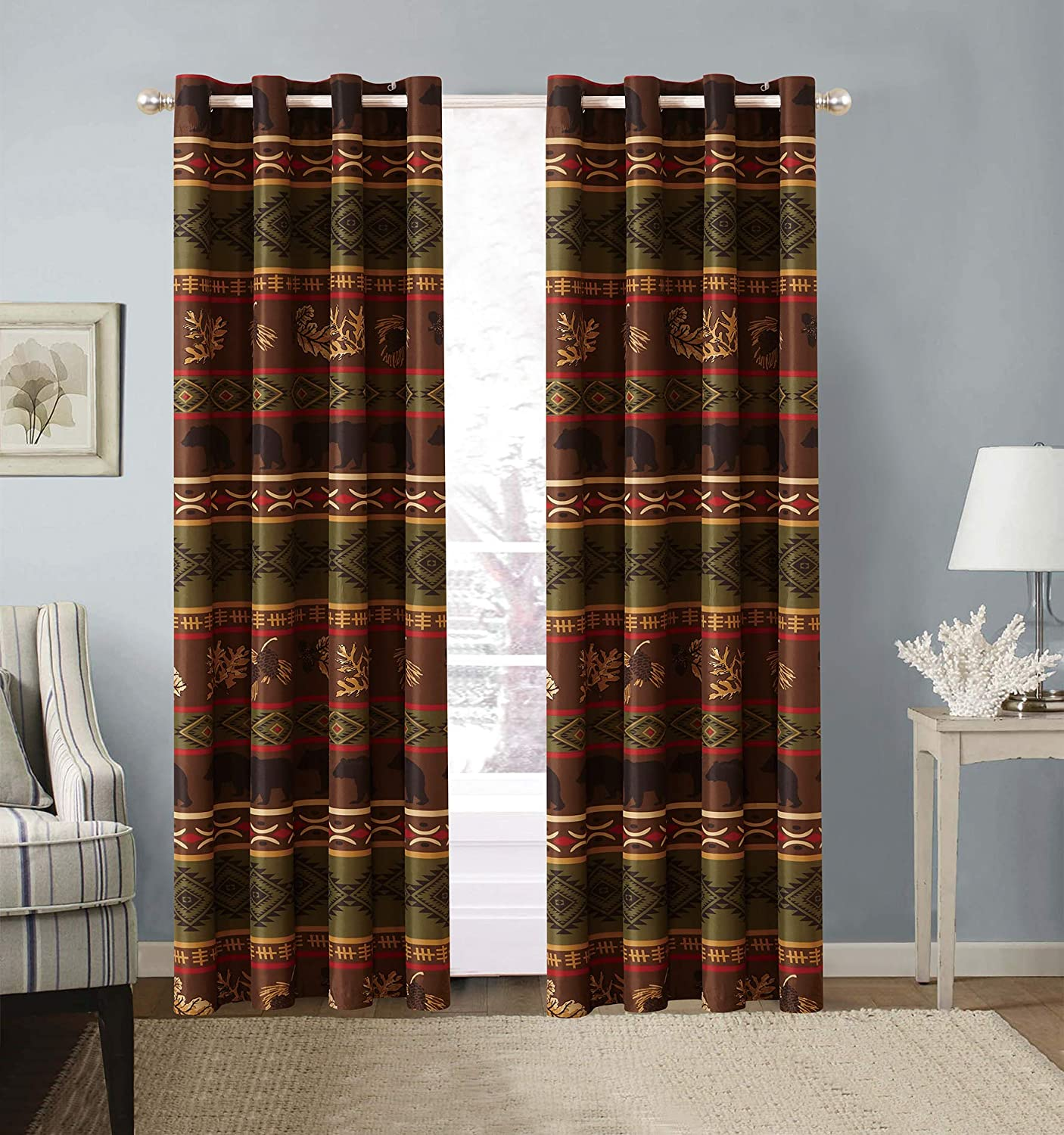 Rustic Western Grizzly Bear Grommet Curtain Set with Southwest Native Indian Tribal Patterns in Brown and Green – Microfiber Curtain Set Bear