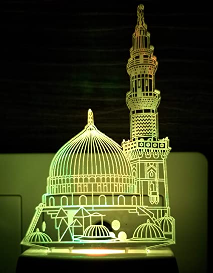 Ajanta Plastic Kaaba Minar 3D Night Lamp ,Standard,Multi-coloured