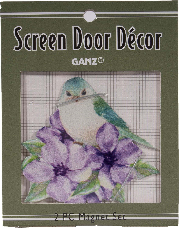 Gnz 3 Inch Wild Bird Metal Screen Door Saver Magnet Set, Choice of Bird (Geranium Blue)