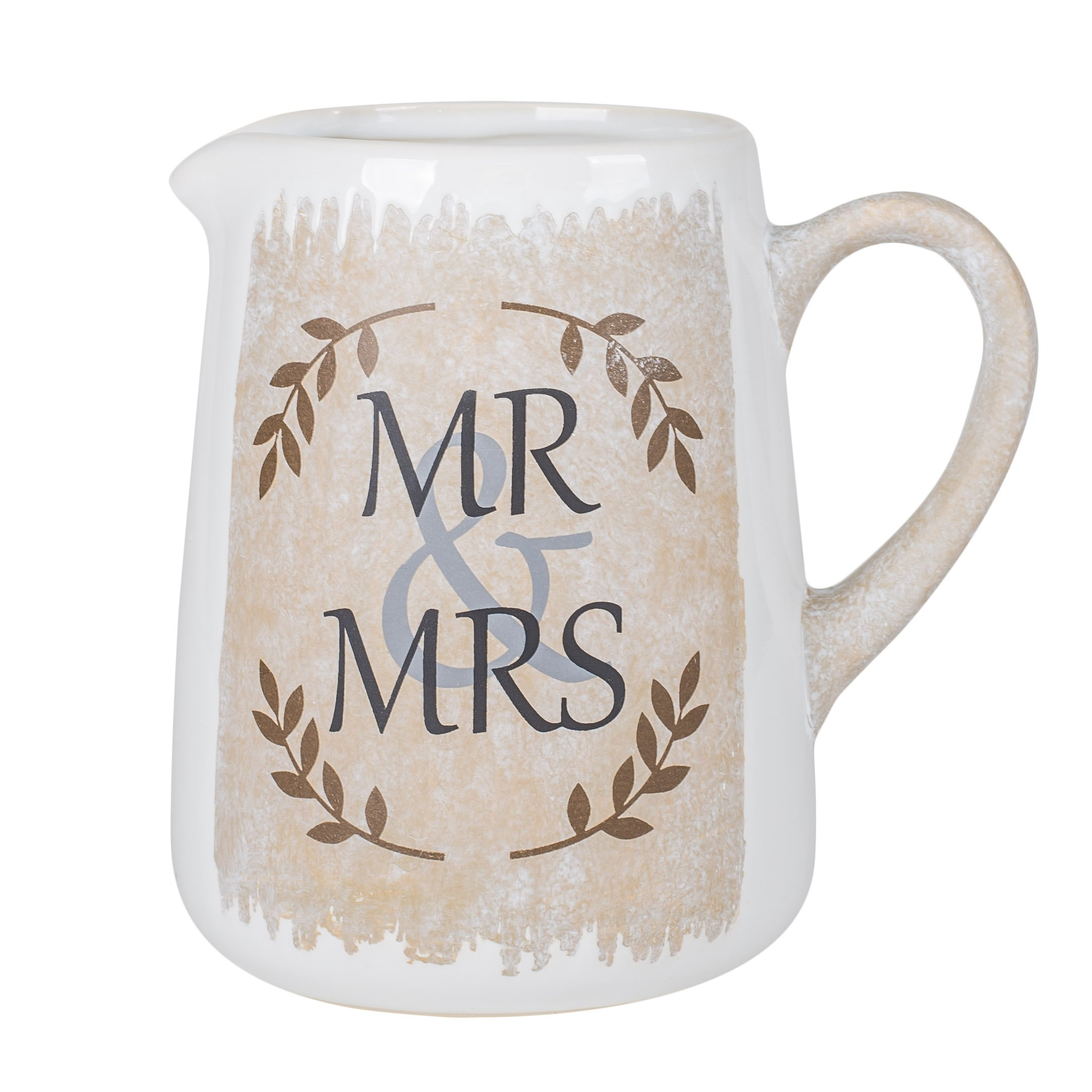 Mr. & Mrs. Country Chic 7.25 Inch Ceramic Carafe Pitcher Vase