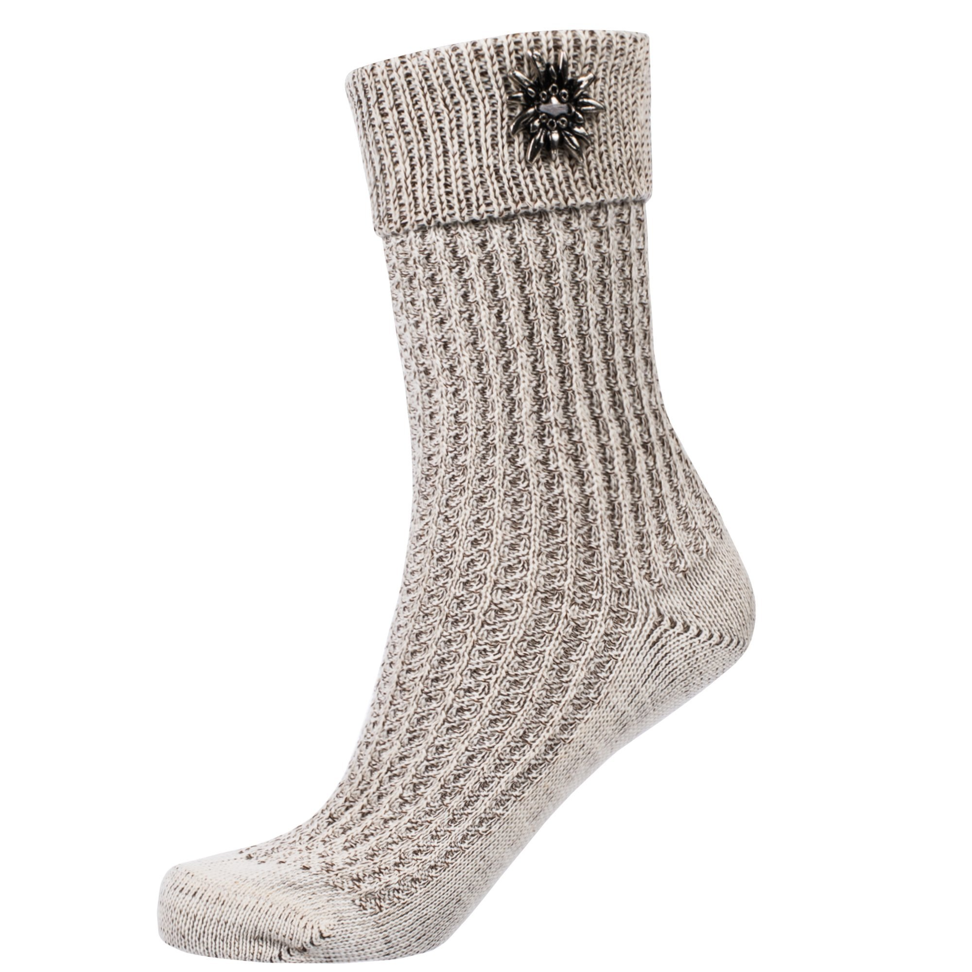 Gaudi-leathers Traditional Socks with Enzian Flower Beige Size 46
