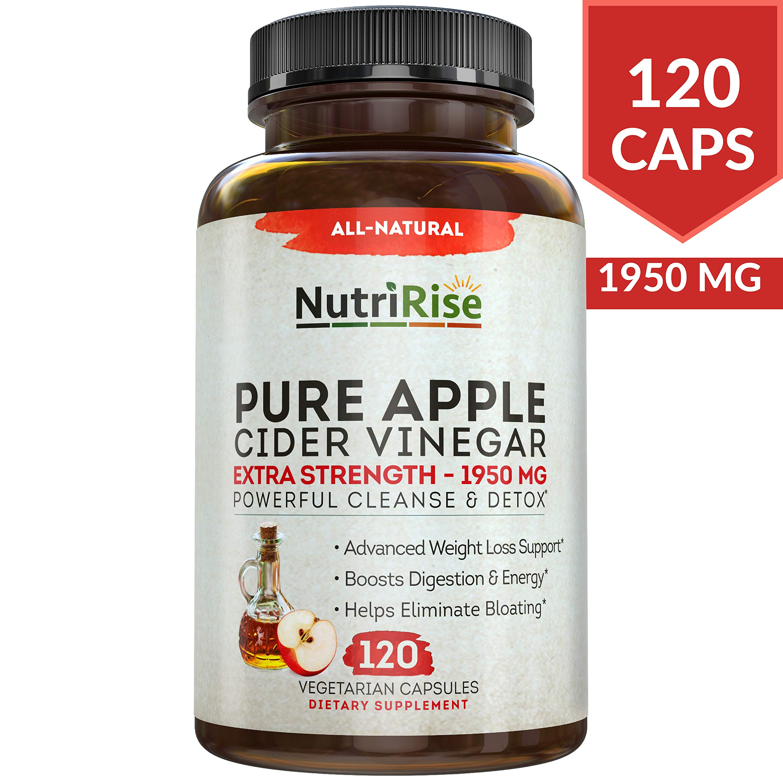 Apple Cider Vinegar Capsules for Weight Loss & Cleanse - 100% Pure Extra Strength 1950mg - 120 Natural Diet Pills for Women & Men for Bloating & Constipation Relief, Digestion & Energy Boost by NUTRIRISE