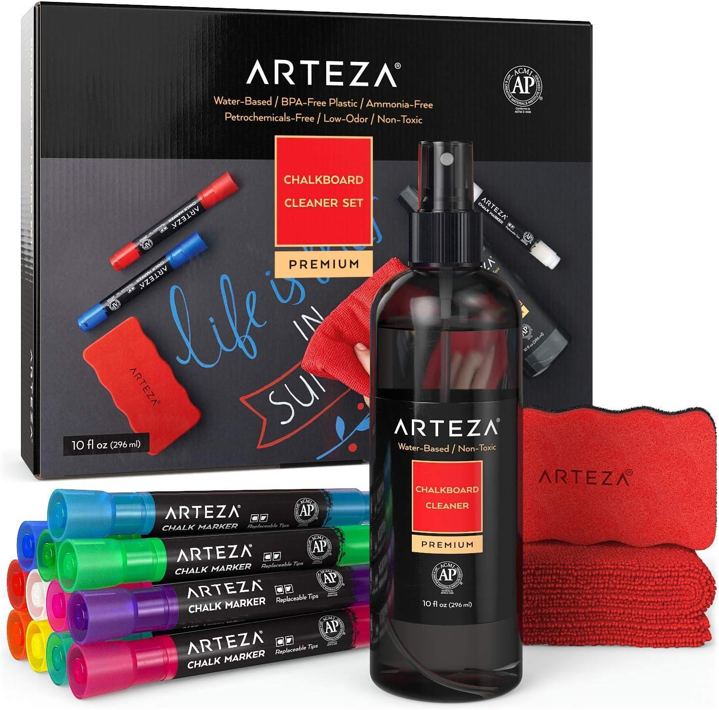 ARTEZA Kit de limpieza de pizarra con 12 rotuladores de tiza de colores + borrador magnético + líquido limpiador de 296 ml + 1 paño de tela de microfibra | Ideal para pizarras y tableros de menú