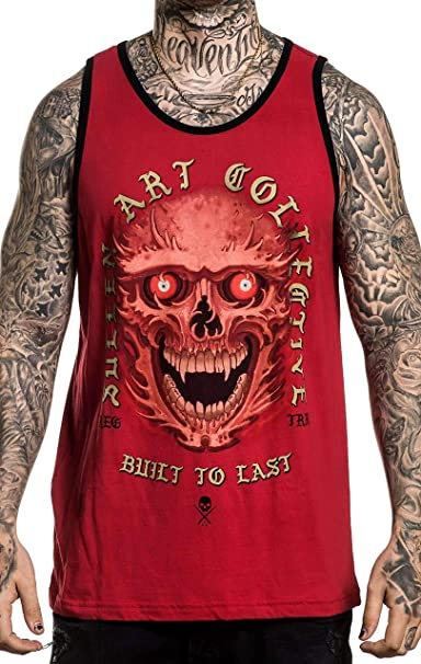 Sullen Mens Red Eyes Fashion Graphic Tattoo Tank Top For Men
