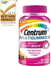 Centrum Multigummies Multi + Beauty (90 Count, Cherry, Berry, Orange Flavours) Multivitamin Gummies