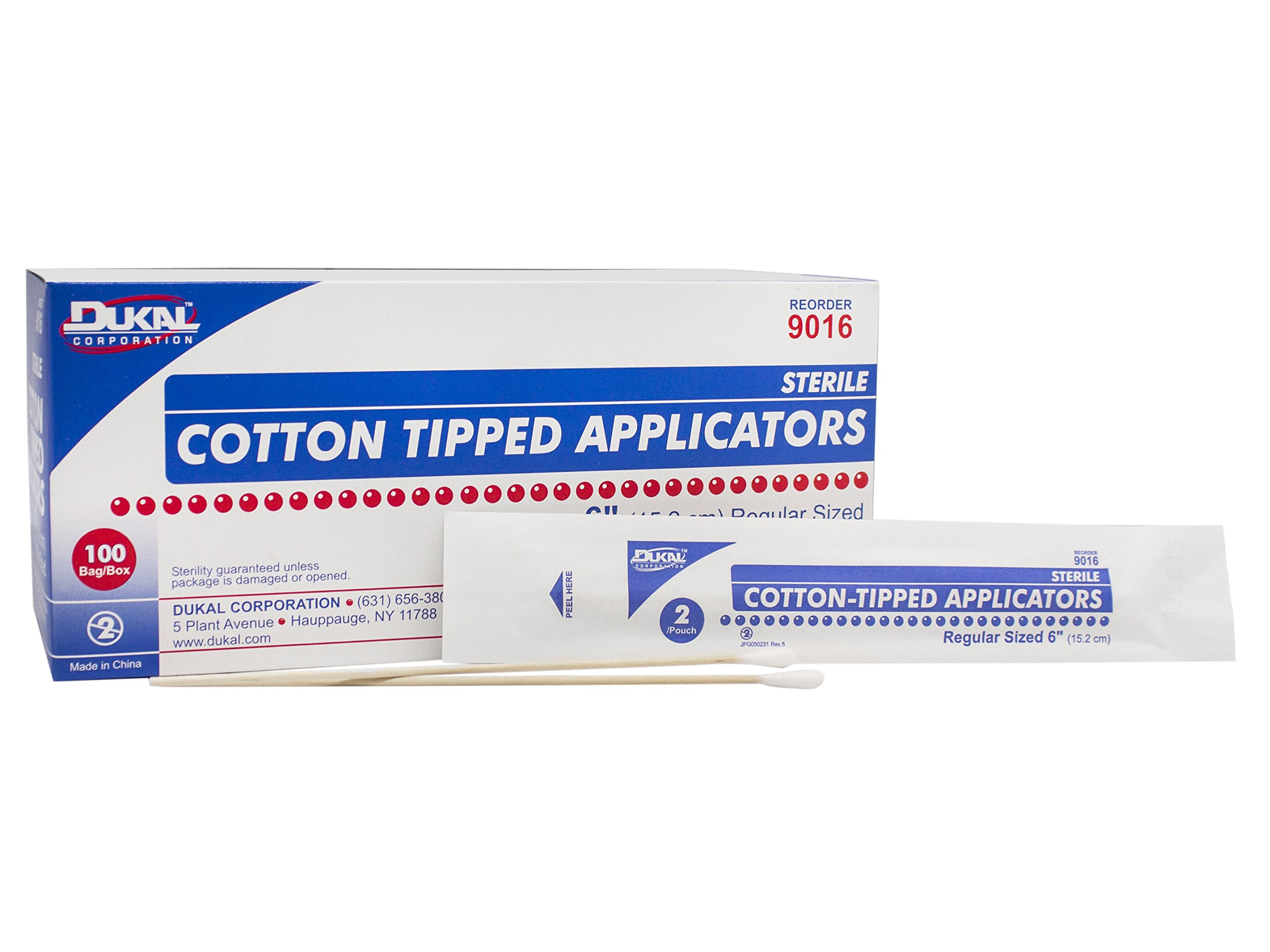 Dukal 9016 Cotton Tipped Applicator, Sterile, 6'' (20 Boxes of 100) (Pack of 2000)