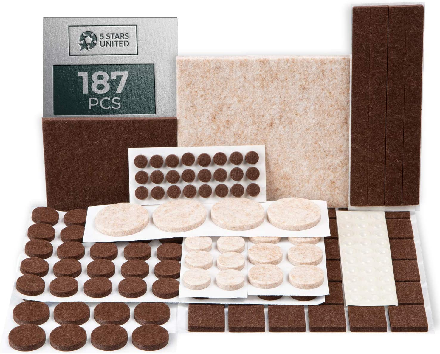 Felt Furniture Pads For Hardwood Floors - 187pcs Brown Beige Self Adhesive Anti Scratch Protectors, Chair/Table/Couch/Sofa Legs/Feet/Foot Covers, Variety Size Wood Floor Protection, 5mm Thick Sliders