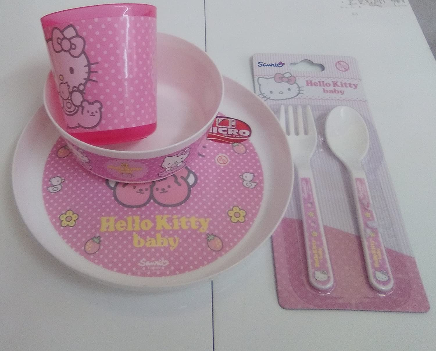 LOTE MENAJE MICROONDAS HELLO KITTY: Amazon.es: Hogar