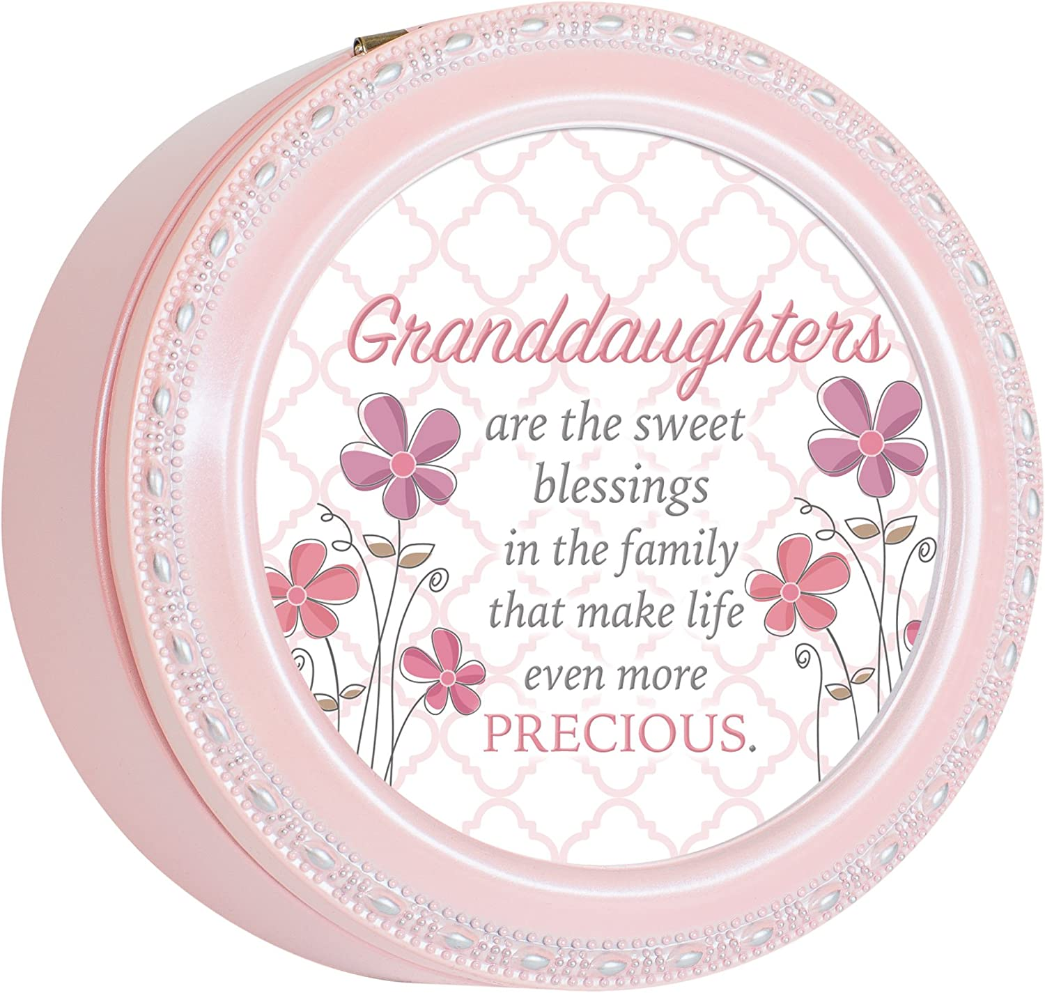Cottage Garden Granddaughters Sweet Blessings Black Rope Trim Jewelry Music Box Plays You are My Sunshine