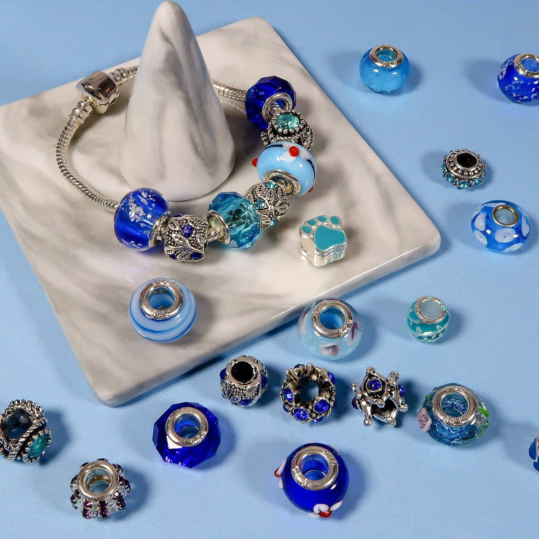 TOAOB 50 Piezas Abalorios Europeos de Plata Antigua Tibetana Esmaltada Cuentas de Aleaci/ón Estr/ás Cristal Perlas Espaciadoras Color Azul para Fabricaci/ón de Joyas Pulseras y Cadena de Serpiente
